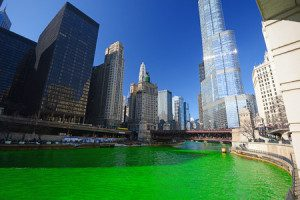 33069200 - chicago green river during saint patrick day