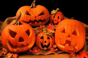21967631 - group of halloween jack o lanterns and decor with black background
