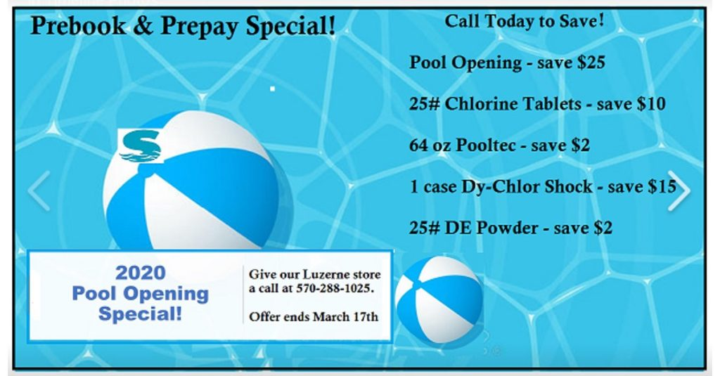 2020 pool opening specials